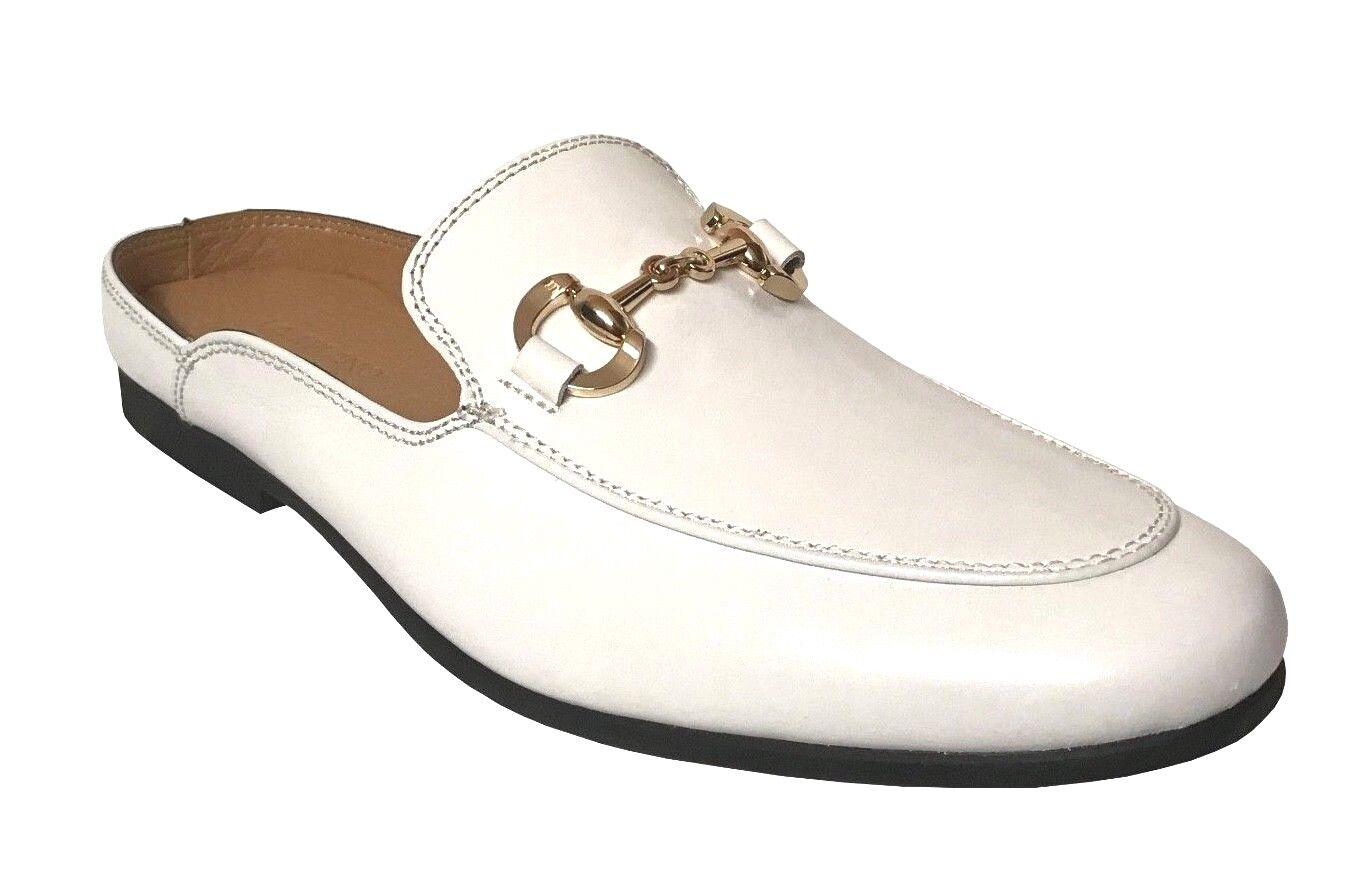La Milano Homme en Cuir Blanc   Mules Dos Ouvert Slip-Chaussures en A11646
