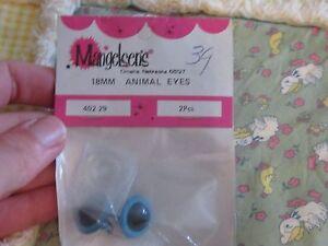 Blue 1 set Animal or doll making eyes craft supplies NOS U pick 15 18 mm size