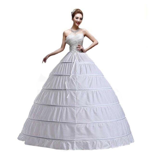 6-HOOP Ring Wedding  Bridal Dress Ball gown crinoline petticoat skirt  Stock