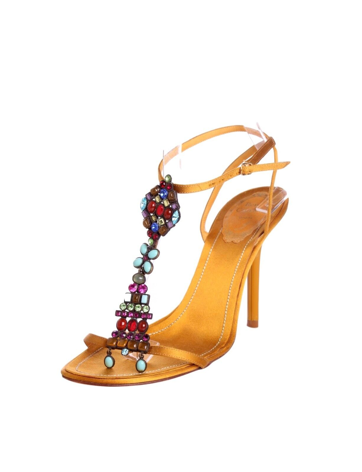 RENE CAOVILLA Gold Satin Sandals Multi Crystal Gem Embellished T-Strap - US 8.5