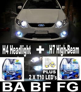 Details about 55W WHITE Headlight Bulbs H4 H7 Halogen T10 LED Lights FALCON  BA BF FG XR6 XR8