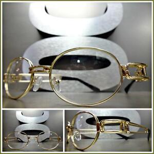 Mens CLASSIC VINTAGE RETRO Style Clear Lens EYE GLASSES Gold Metal Fashion Frame