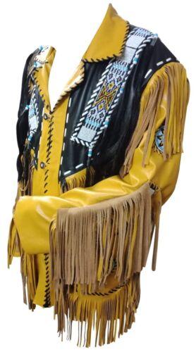 Uomini Nativi Americani Indiano Giacca di Pelle Scamosciata Perline /& Frangia lavoro