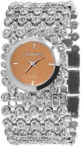 Excellanc-Damenuhr-Braun-Silber-Strass-Analog-Metall-Armbanduhr-X152027000043