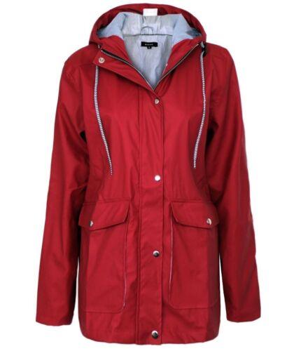 Womens Ladies PU Coated Jacket Mac Shower Anorak Hooded Coats Festival Rain Coat