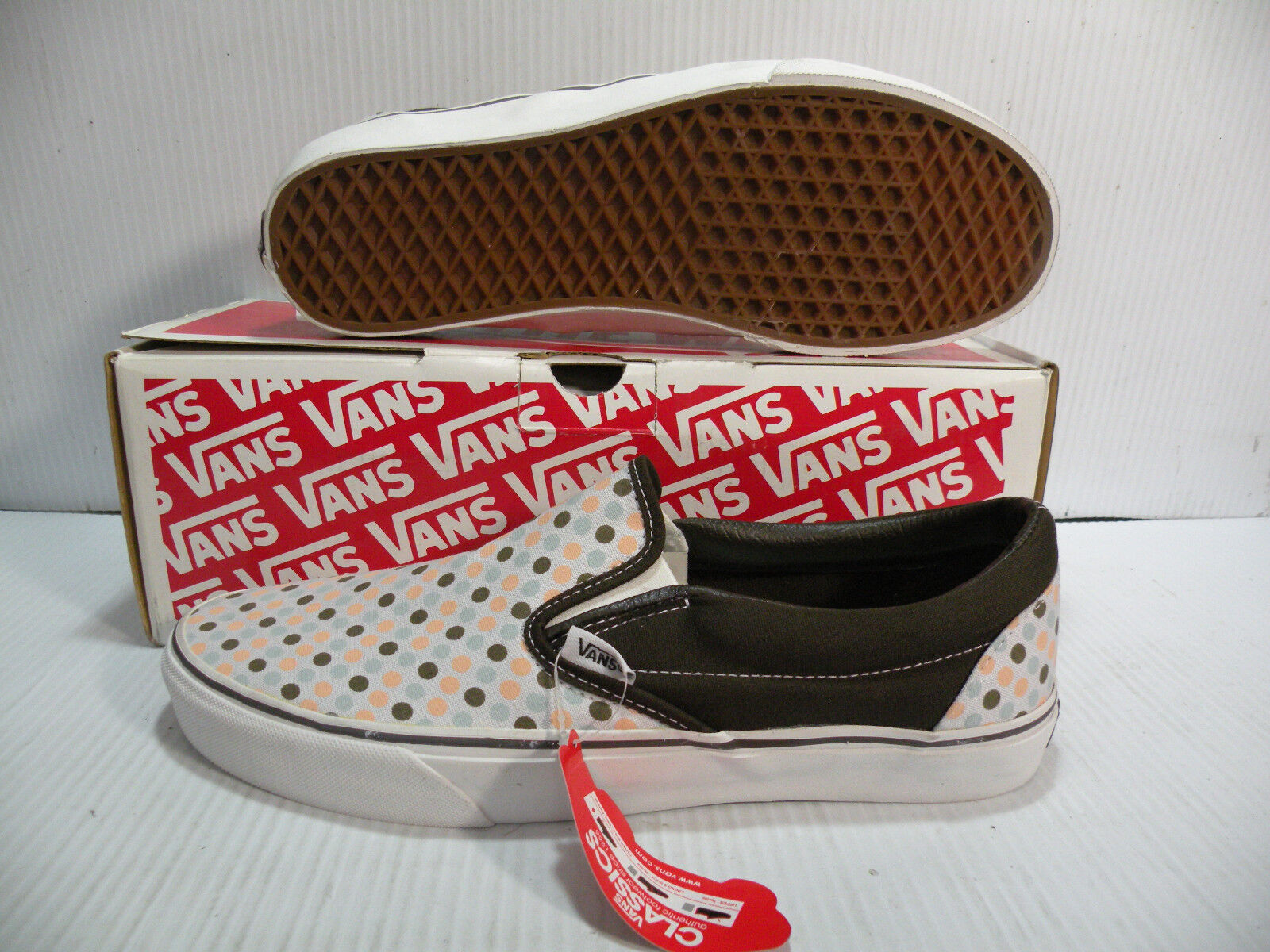 VANS CLASSIC LOW POLKA DOTS MEN SHOES COFFEE WALNUT 862299 SIZE 11 NEW