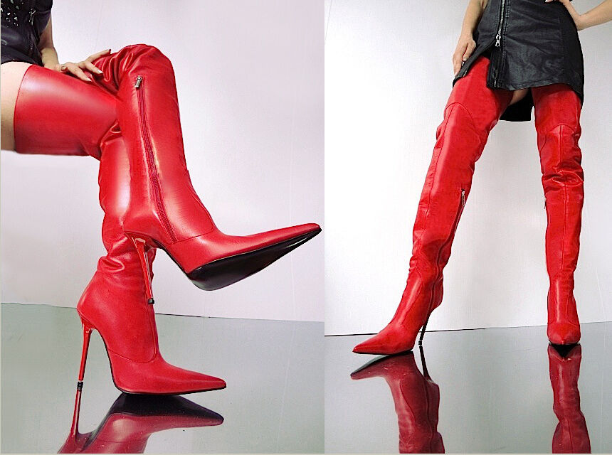 Casual salvaje Grandes zapatos con descuento CQ COUTURE CUSTOM SEXY OVERKNEE BOOTS STIEFEL STIVALI SHOES LEATHER RED ROSSO 41