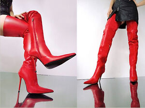Stiefel Custom Shoes Sexy Leather Støvler Cq 45 Red Couture Overknee qXy6g4q5w