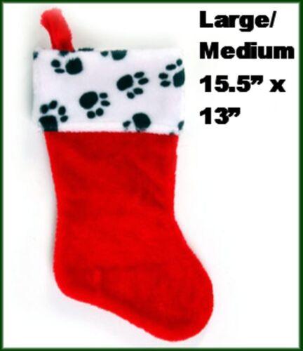 "NWT Dog Cat Pet Large Medium Plush Paw Print Red Christmas Stocking  15.5/"" x 13/"""