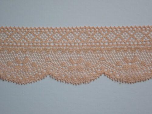 5 METRES  Pretty Pale Peach Soft Stretch Lace Trim 4cm TOP SELLER Trimming