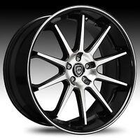 22 Lexani Wheels R-10 Stagger Black Rims Bmw 745 750 Porsche Charger Cts