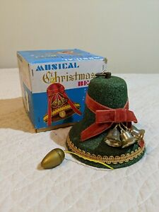 Vintage-Flock-Musical-Christmas-Bell-In-Original-Box-Japan-Silent-Night-Working