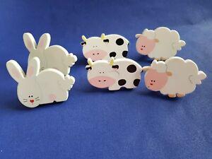 6 poignées meubles pour enfants moutons , lapins et vaches ( ref P501)