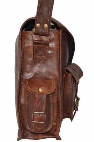 """15/""""Genuine Vintage Brown Leather Messenger Bag Shoulder Laptop Bag  Briefcase"""