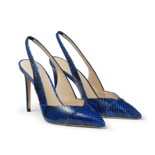 Details about  /Women Fashion Ankle Strap Sandals Pointy Toe Snakeskin Print Shoes Slingbacks L