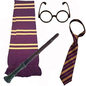 Disfraz-de-Mago-Escolar-Varita-magica-Corbata-Bufanda-y-Gafas-Redondas