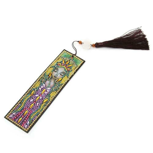 DIY Special Shaped Diamond Painting Creative Leather Tassel Bookmark Crafts N#S7
