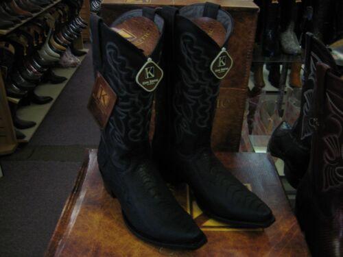 KING EXOTIC BLACK SNIP TOE GENUINE OSTRICH LEG WESTERN COWBOY BOOT 94DG0505