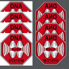 8 Aufkleber 10cm Sticker DNA Alarm System Alarmaufkleber Alarmsticker gespiegelt