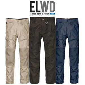 Mens-Elwood-Slim-Pants-Stretch-Canvas-Work-Utility-Safety-Tradie-Phone-EWD105