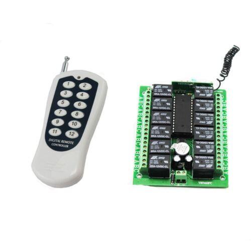 12 Canali AC DC 12V RF Wireless Telecomando Interruttore Ricevitore Trasmettitore 12CH