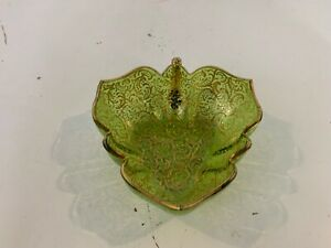 Vintage-Possibly-Antique-Moser-Green-Art-Glass-Leaf-Dish-with-Gold-Enamel-Dec