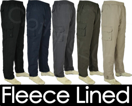 T6 Mens Elasticated Fleece Lined Thermal Walking Cargo Winter Trousers M-5XL