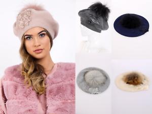 c8edfb4cd70 Women s Flower Beanie Cap FUR Detachable Pom Pom Knit Bobble Hat ...