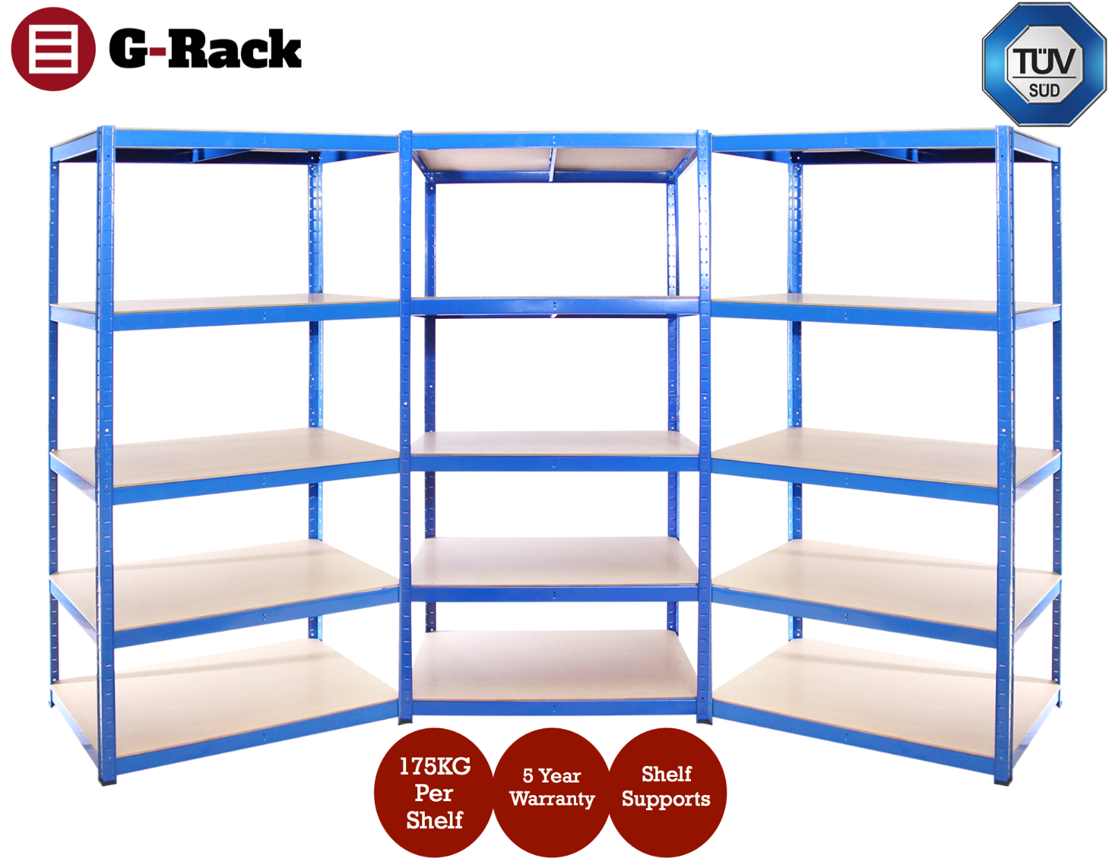 3 Bays of Steel 180x90x40cm Blue Garage Shed Shelving Racking Storage Units