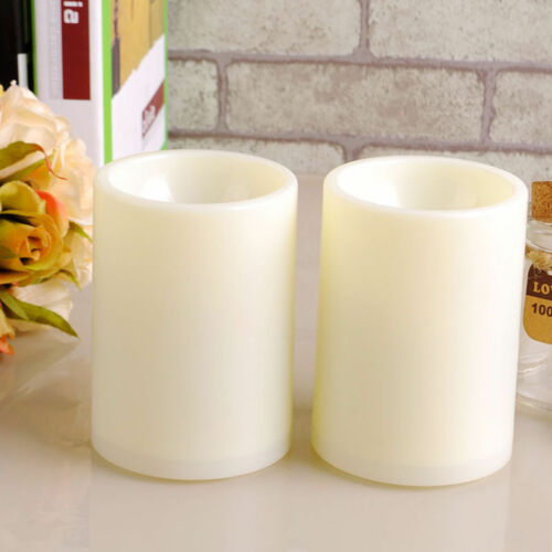 4pcs Indoor Flameless Resin Pillar LED Candle with 8 Hour Timer 3/'*2/'