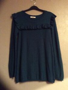 FAT FACE teal Cotton Long Jumper Size 6 VGC Hardly Worn Long Sleeve Round Neck