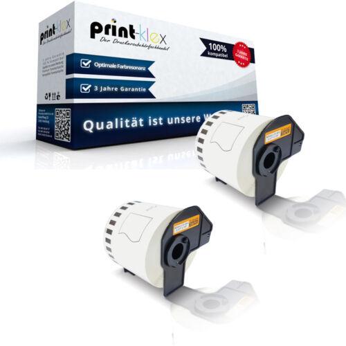 2x kompatible Label Etiketten Rollen für Brother P-Touch-QL-550 DK44205 Office Q