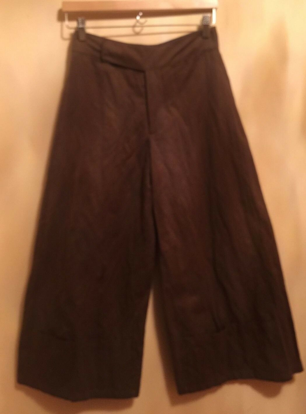 Pre-owned MARNI braun Cotton Blend braun Wide Leg Pants SZ 38 Made in