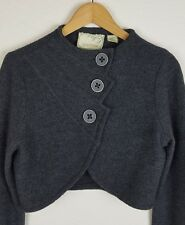 Anthropologie Sparrow L/S Gray Scalloped Edge Button Down Shrug Cardigan