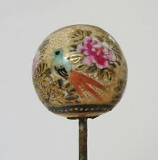 Antique Hand Painted Satsuma Hatpin Bluebird Flowers