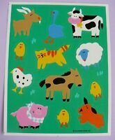 Vintage 1991 Hallmark Farm Animals 12 Stickers 1 Sheet Cow Pig Chicks Sheep Dog