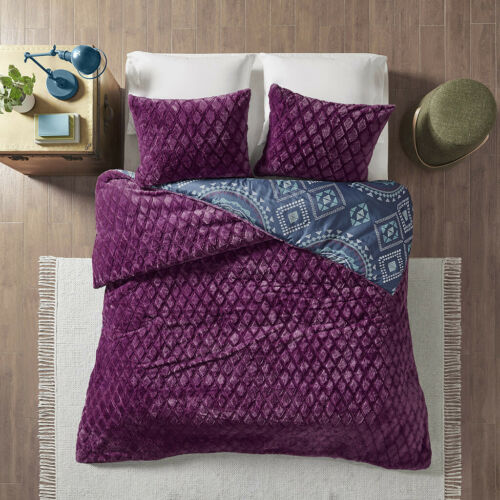 NEW! ~ COZY ULTRA SOFT BLUE PURPLE NAVY TEAL BOHEMIAN SOUTHWEST COMFORTER SET