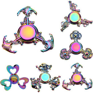 Tri-Fidget-Hand-Spinner-Metal-Rainbow-Finger-Gyro-Desk-Toy-EDC-Focus-ADHD-Autism