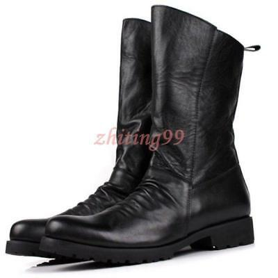 Warm High Top Mens Leather Round Toe Cowboy Millitary Oxford Long Pleated Boots