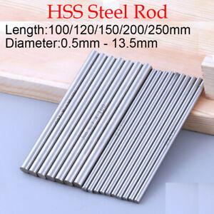 0.5mm-12.5mm 100 150 250mm HSS Steel Round Rod Bar Axis Metal Shaft Metalworking
