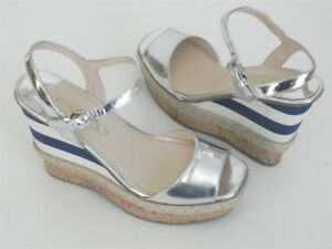 75112f8d1c9 Image is loading Prada-Metallic-Silver-Blue-White-Stripe-Espadrille-Wedge-