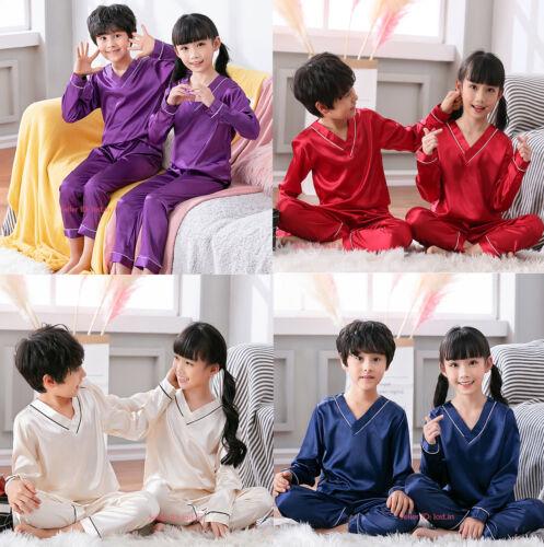 Kids Boys Girls Silk Satin Pajamas Sets Sleepwear Nightwear Pyjamas 2PCs 8-16 Sz