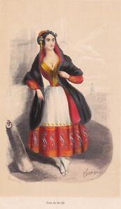 Gravure-XIXe-Cara-Seville-Espagne-Costume-Sevillana-Andalousie-Espana-1848