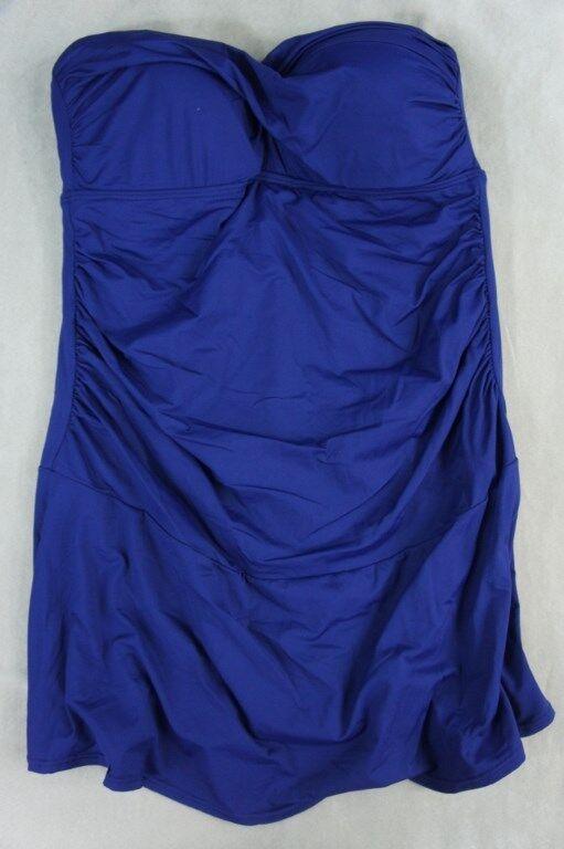 Anne Cole Signature Swimwear Sz 16W Navy Swimsuit Ruched Swim Dress 16PD605