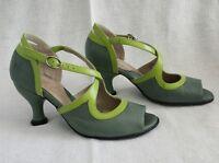 Fluevog Bellevue Fannie Porter Heels Sandals Shoes Glass Pistachio 6 Lime