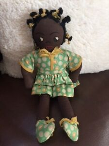 Vintage Doll Black African American Girl Doll Beautiful 13.5""