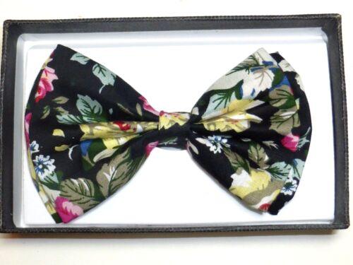 New Hawaiian Shirt Bow Tie Black Flower Floral BowTie Luau Hawaii US SELLER