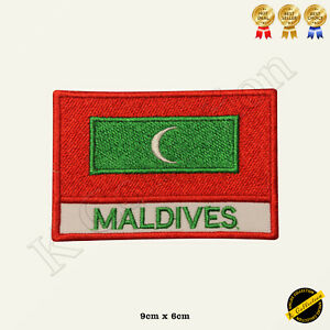 Maldives National Flag Embroidered Iron On/Sew On Patch Badge For Jeans etc