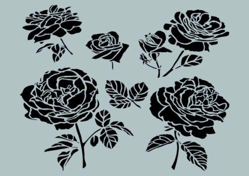 1136 ** Nr. Rosen-Design-Art-Schablone**A4**für Stoffe Möbel usw.