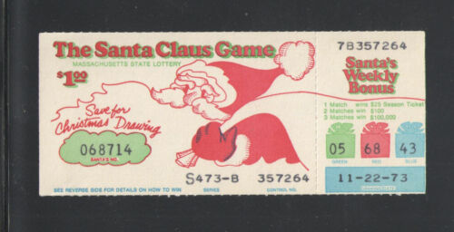 1973 MASSACHUSETTS LOTTERY TICKET { THE SANTA CLAUS GAME }